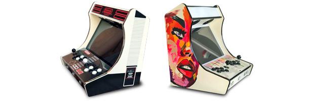 borne arcade finition sticker, cuir ou peinture personnalisee